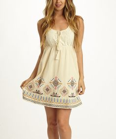 Look what I found on #zulily! Ivory & Red Geometric-Embroidered Empire-Waist Dress by Pinkblush #zulilyfinds