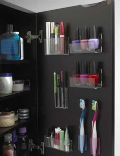 Use Every Inch Of Space:  Too often we only use half of the space allotted to us. Stick acrylic holders to the insides of your cabinet doors for extra makeup space.