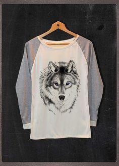 Siberian Husky Wolf Shirt Animals Shirt Long by FourthSeason, $16.99
