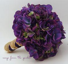 Hochzeit Bouquet lila Seide Hortensie lila Seide Blume Brautstrauss Hydrangea rustikale Jute Twine Ribbon