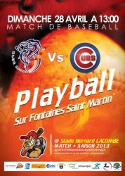 Playball Opening game vs Cubs de Cruzilles-lès-Mépillat, Fontaines-Saint-Martin, Rhône-Alpes. France