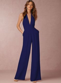 1b69087d38 Fashion Halter V Neck Backless Wide-Leg Jumpsuit