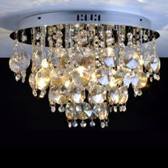 Modern Crystal Flush Mount with 9 Lights in Round.... pretty!