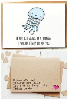 "18 Naughty + Funny Valentine Cards You Need In Your Life! 18 Totally Naughty + Funny Valentines Cards for Him (or Her) : ""If you got stung by a jelly fish Friend Valentine Card, Valentines Day Cards Handmade, Naughty Valentines, Valentines Gifts For Boyfriend, Valentines Presents For Him, Diy Cards For Boyfriend, Cute Crafts For Boyfriend, Funny Valentines Cards For Friends, Happy Valentines Day Quotes For Him"