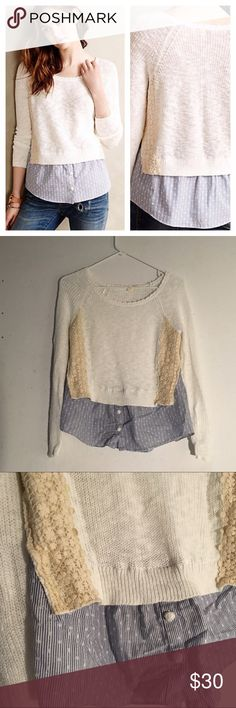 "Anthropologie Moth Terrace Layered Pullover Size: small, length: 21"" // Anthropologie Moth Terrace pullover • the sweater part is white with cream crochet details on the side • has a blue polka dot faux layer under • great condition Anthropologie Sweaters Crew & Scoop Necks"