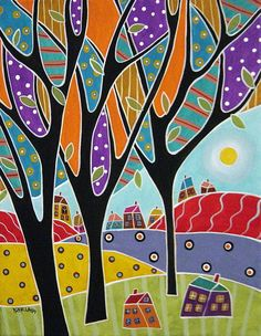 Houses Trees Abstract Painting
