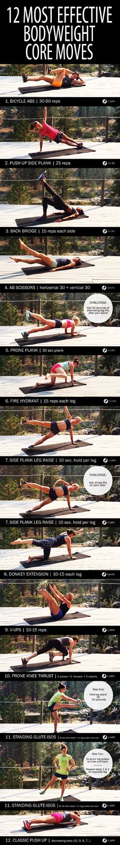 .12 most effective bodyweight core moves. #abs #sixpack #flatstomach #flatbelly #coreworkout #abworkout #abexercise #sixpackworkout #bellyfat #muffintop #lovehandles