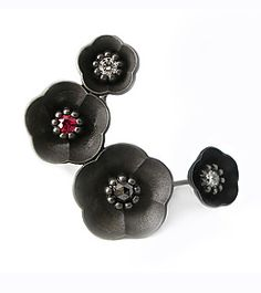 Cherry Blossom Climbing Earring and Small Stud by Catherine Iskiw (Silver & Stone Earrings)