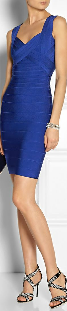 Hervé Léger ● royal-blue bandage dress            HF