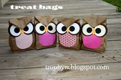 Owl Treat Bags - made from brown paper sacks. Perfect for my owl theme! Owl Treat Bags, Owl Bags, Owl Treats, Owl Snacks, Paper Sack, Baby Owls, Gift Bags, Goodie Bags, Favor Bags