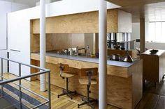 plywood kitchen in paris loft apartment Plywood Interior, Plywood Walls, Plywood Board, Modern Interior Design, Interior Architecture, Interior And Exterior, Interior Ideas, Kitchen Interior, Paris Loft