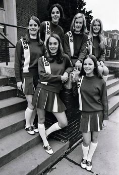 Our Gallery looks back at cheerleaders in the suburbs in the and Cheerleading Classes, Cheerleading Pictures, Cheerleading Outfits, Football Cheerleaders, Football Uniforms, Long White Socks, High School Football Games, Band Uniforms, Saddle Oxfords