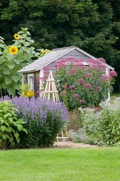 Country Cottage Garden and Shed in Country Gardens Magazine - via Oliver and Rust
