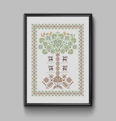 Yggdrasil - Traditional World Tree of Life Sampler pdf pattern in Scandinavian style. Counted Cross Stitch Patterns, Cross Stitch Designs, Stitch Shop, Dmc Floss, Pdf Patterns, Colorful Pictures, Tree Of Life, Scandinavian Style, Colorful Backgrounds