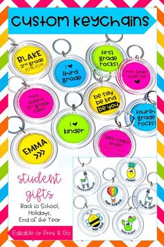 These fun custom key chains are a unique student gift idea for the first day of school or back to school season, the holidays, or the end of the school year. A variety of designs and editable templates are available.