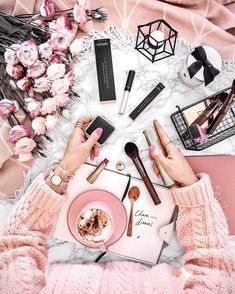 Flatlay Inspiration · via Custom Scene · Blush Pink themed scene with make up products, notebook and coffee on a white and pink cloth background. Pretty In Pink, Photo Pour Instagram, Photo New, Tout Rose, Photo Grid, Flat Lay Photography, Fashion Photography, Flatlay Styling, Flatlay Makeup