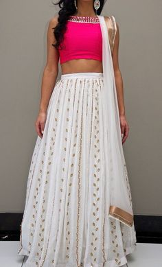 Buy Off White Georgette Lehenga Choli Online Indian Wedding Outfits, Bridal Outfits, Indian Outfits, Indian Clothes, Lehnga Dress, Lehenga Choli, Anarkali, Saree Blouse, Indian Attire