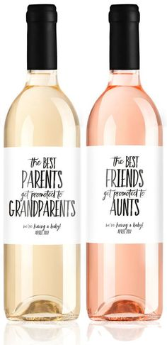 Pregnancy Announcement Wine Labels We're by LabelWithLove on Etsy