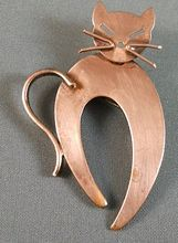 Vintage Copper Cat Kitty Brooch Pin Western Germany