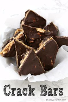 Crack Bars recipe (Chocolate Peanut Butter Toffee Crackers) a highly addictive dessert because it's delicious and easy to make | SnappyGourmet.com