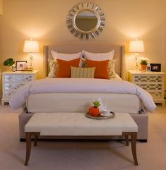 Martha Stewart natural linen bed.