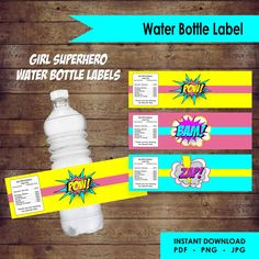 Girl Superhero Water Bottle Labels by EllieDesignsbyE on Etsy Water Bottle Labels, Label Design, Paper Goods, Birthday Invitations, Craft Supplies, Unique Gifts, My Etsy Shop, Superhero