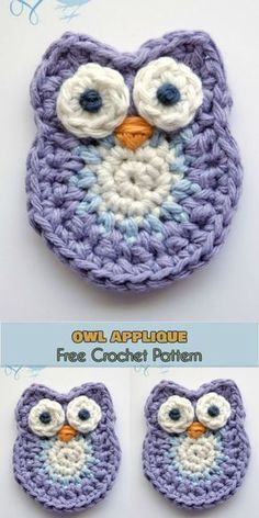 Crochet accessories 279575089356249115 - Owl Applique or Softie Free Crochet Patterns Source by rcederwall Marque-pages Au Crochet, Crochet Applique Patterns Free, Crochet Mignon, Crochet Motifs, Crochet Gifts, Cute Crochet, Crochet For Kids, Crochet Dolls, Free Pattern