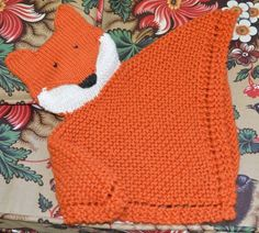PDF Knitting Pattern Fox Security blanket lovey by CTHdesign Baby Knitting Patterns, Crochet Patterns, Fox Crafts, Fox Pattern, Knit In The Round, Security Blanket, Garter Stitch, Knitting Projects, Lana