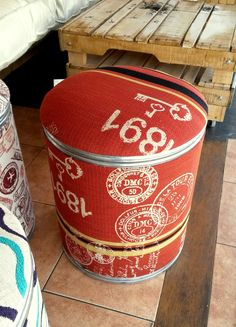 footstool barrel Barrel Projects, Art Projects, Projects To Try, Craft Night, Drum Shade, Storage Containers, String Art, Repurposed, Burlap