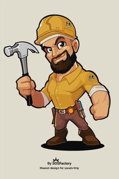 Blue collar worker mascot design