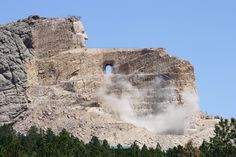 Watching history be made. Blasting at the base of the memorial. Crazy Horse Memorial, Rapid City, South Dakota, Native Americans, Monuments, Worlds Largest, Mount Rushmore, Base, Memories