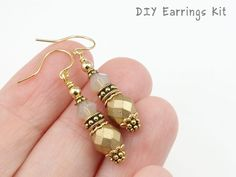 Sweet little Czech glass and Swarovski Crystal earrings with gold plated beads and findings, in warm colors - perfect for a crisp autumn day. --------------------- ★ ★ ★ --------------------- This listing is for an unassembled kit - a loose bag of beads to put together yourself. Youll need tools and and basic wire wrapping skills to complete. This kit does not included printed instructions - please refer back to this page for instructions. --------------------- ★ ★ ★…