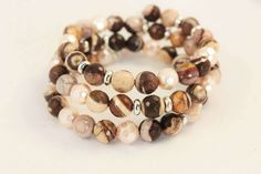 NEW Brown Beige Gemstone and Glass Pearl Beaded Memory Wire  Bracelet with Silver Plated Rondelles by MarmeliDesigns on Etsy https://www.etsy.com/listing/471445360/new-brown-beige-gemstone-and-glass-pearl