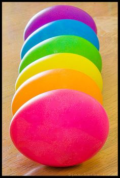 Easter eggs in a rainbow of colors