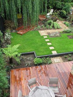 Asymmetric Family Garden by Modular Garden yard patio garden and scaping deck Back Gardens, Outdoor Gardens, Outdoor Plants, Outdoor Decor, Outdoor Living, Family Garden, Home And Garden, Backyard Landscaping, Landscaping Ideas