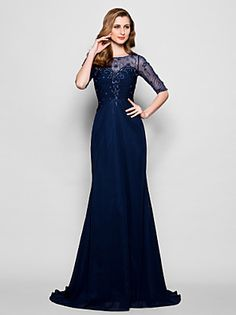 Lanting+Bride®+A-line+Plus+Size+/+Petite+Mother+of+the+Bride+Dress+Sweep+/+Brush+Train+Half+Sleeve+Chiffon+/+Tulle+withBeading+/+Crystal+–+USD+$+470.00