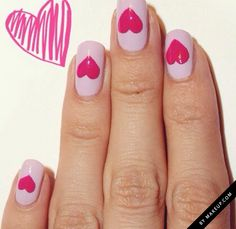 how to paint hearts on your nails for Valentine's Day
