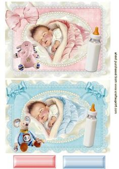 SLEEPING BABIES BOY AND GIRL CARD FRONT on Craftsuprint designed by Nick Bowley - SLEEPING BABIES, BOY AND GIRL CARD FRONT, Makes two pretty cards, lots of other designs to see, also can be seen in 8x8 mini kit - Now available for download!