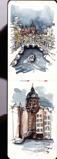 Amsterdam urban sketching. This is very cool....I should do something like this when I go to Germany :)