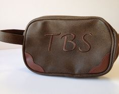Dark Brown Scotch Grain Toiletry Case by jansnstitches on Etsy Personalized Graduation Gifts, Toiletry Bag, Groomsman Gifts, Scotch, Saddle Bags, Dark Brown, Gym Bag, Sunglasses Case, Grains