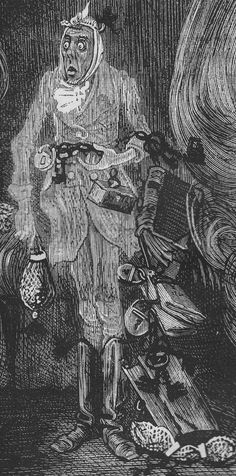 Marley in his pigtail, usual waistcoat, tights, and boots; the tassels on the latter bristling, like his pigtail, and his coat-skirts, and the hair upon his head. The chain he drew was clasped about his middle. It was long, and wound about him like a tail; and it was made (for Scrooge observed it closely) of cash-boxes, keys, padlocks, ledgers, deeds, and heavy purses wrought in steel.