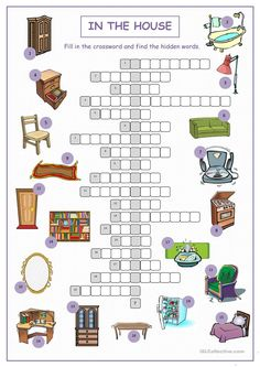 In The House Crossword Puzzle - English Esl Worksheets images ideas from Worksheets Ideas English Games, English Fun, Learn English, English Class, Printable Crossword Puzzles, English Exercises, Fun Worksheets, Vocabulary Activities, Teaching Jobs
