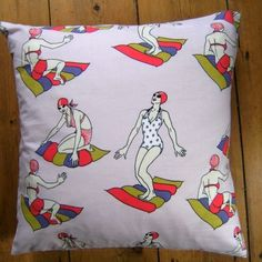 Vintage Retro Lady Lido Pink Fabric Design Scatter Cushion Cover