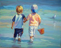 Two Little Beach Boys  16 x 20 original acrylic by LucelleRaad