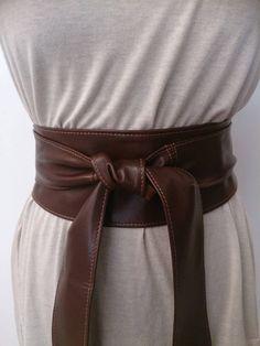 Brown soft real leather obi belts / sash belts / tie by Poltsa