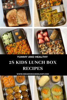 28 Healthy Kids Lunch Box Recipes These recipes are filled with wholesome ingredients,packed with nutrients and will keep your kids satisfied all afternoon. School Lunch Recipes, Healthy Lunches For Kids, Toddler Lunches, Lunch Box Recipes, Dinner Recipes For Kids, Baby Food Recipes, Indian Food Recipes, Kids Meals, Lunch Kids