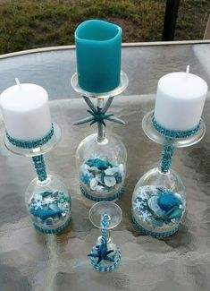 30 Cheap and Easy Homemade Wine Glasses Christmas Candle Holders Christmas wine glass candle holder ; DIY Home Decor Ideas; cheap and easy candle holders. Wine Glass Candle Holder, Diy Candle Holders, Diy Candles, Glass Holders, Nautical Candle Holders, Wine Glass Crafts, Wine Bottle Crafts, Wine Bottles, Deco Theme Marin