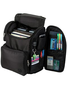 Zuca Business Backback: Includes a padded laptop sleeve (holds laptops up to size 10''x14''x2'') for a 15'' screen, 2 interior expanding file pockets, side zippered office organization pocket and a portal for your iPod. The built-in straps secure the backpack to your ZÜCA rolling bag. Padded back and ergonomic shoulder straps. Dimensions: 16'' x 14'' x 9'' $109