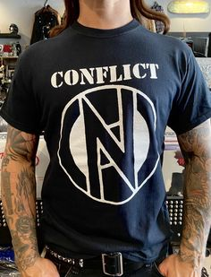 Conflict Logo Shirt Skinhead, Band Logos, Band Shirts, White Ink, Mens Tops, T Shirt, Cotton, Black, Products