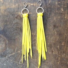 YELLOW LEATHER EARRINGS